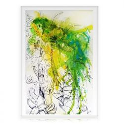 "Tableau Couleur Dripping Vert ""Run through the jungle"""
