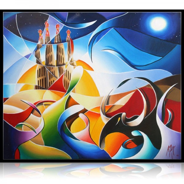 Colorful Painting Gaudi in the sky with diamonds