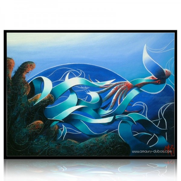 Figurative painting Octopus hunting