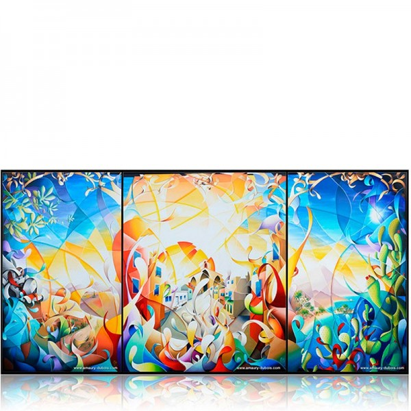 contemporary triptych painting Shine a light
