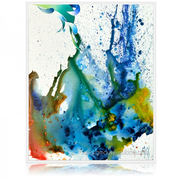 """Blue spirit"" Blue abstract painting on canvas"