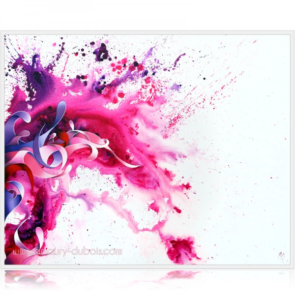 "Peinture tache abstraite dripping ""Lilac wine"""
