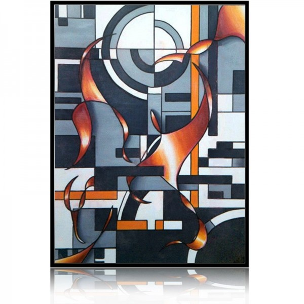 Anarchic spirit geometric and modern oil painting for Tableau geometrique pastel