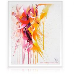 """Pink Bird"" Dripping Painting, abstract oil on canvas painting"