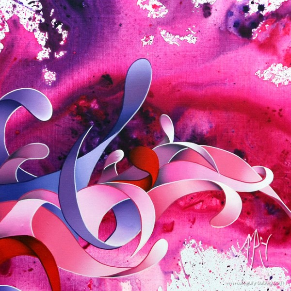 """""""Lilac wine"""" Dripping Painting, abstract oil on canvas painting"""