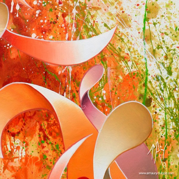 """Orange"" Dripping Painting, abstract oil on canvas painting"