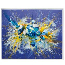 "peinture contemporaine Bleue ""Big Bang"""