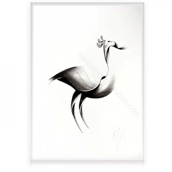 """Charcoal on paper """"Bird 2"""""""