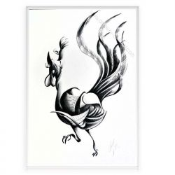 "Charcoal on paper ""Rooster"""