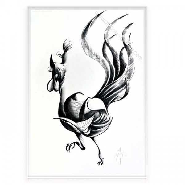 """Charcoal on paper """"Rooster"""""""