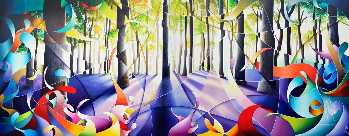 "Colorful painting about Forest ""Jacinthes au mont noir"" Oil Painting on Canvas 