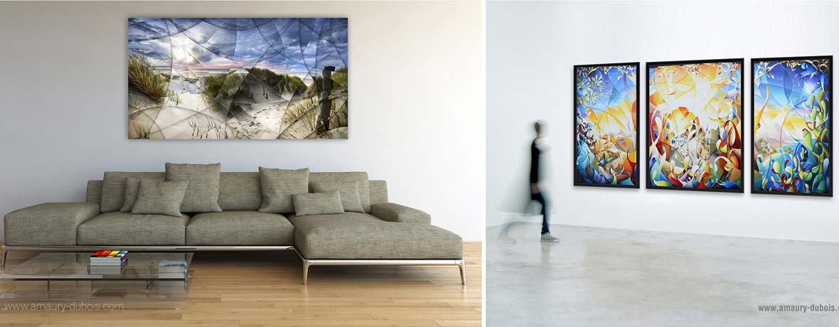 "Fine art photography signed & limited by artist about North Sea ""Wind's caress"" and contemporary triptych painting ""Shine a light"" OIl painting on canvas 360x162cm"