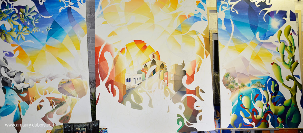 SHINE A LIGHT modern triptych, oil painting